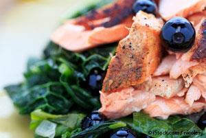 Coconut Kale with Sesame-Crusted Salmon